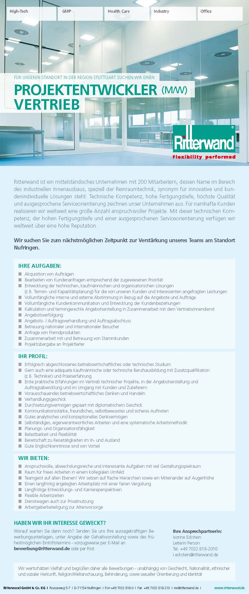 Wir suchen Sie als Projektentwickler (M/W) Vertrieb