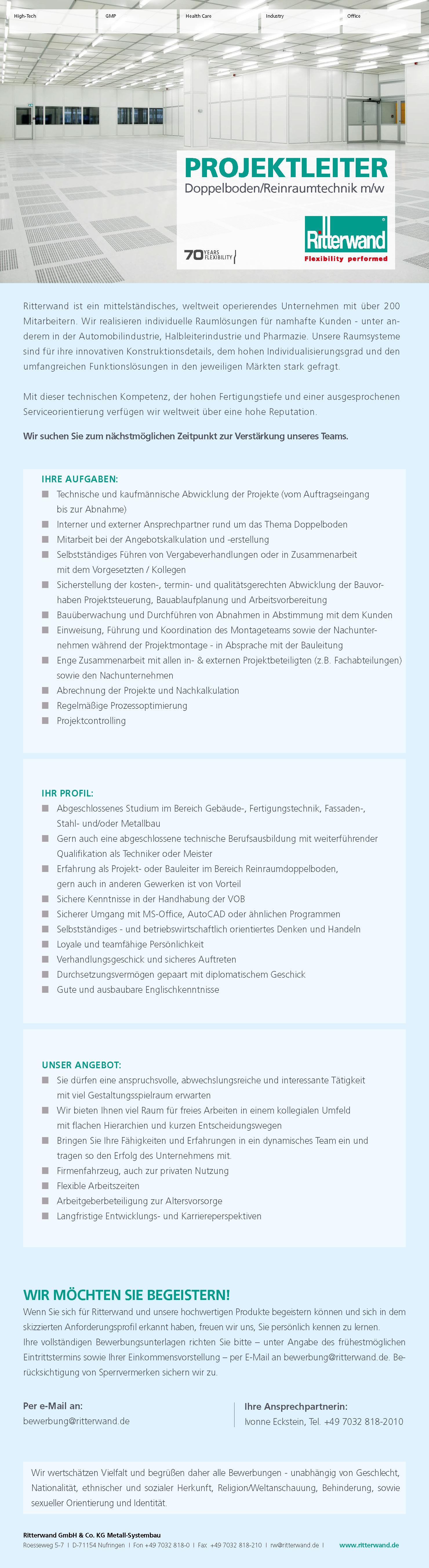 Projektleiter Doppelboden/Reinraumtechnik (m/w)